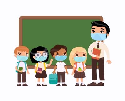 מורה ותלמידים עם מסכות