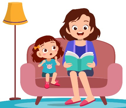 mother reads to girl