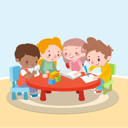 children learning in a group